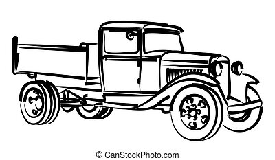 esboço, truck., antigas