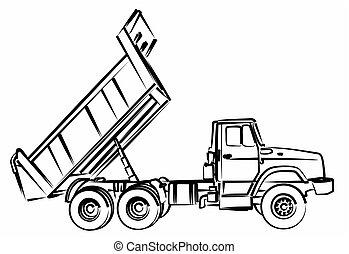 esboço, truck., entulho