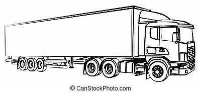 esboço, truck., longo