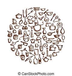 esboço, utensílios, seu, desenho, desenho, cozinha