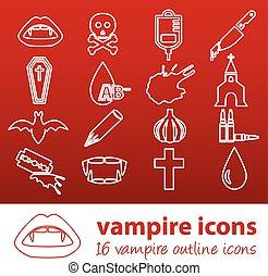 esboço, vampiro, ícones