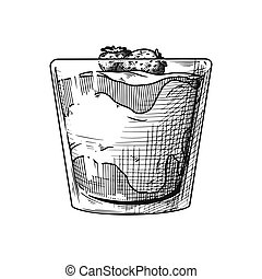 esboço, vase., ilustração, realístico, vetorial, sorvete