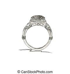 esboço, vetorial, anel, ilustração, estilo