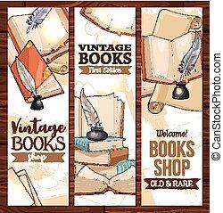 esboço, vetorial, antigas, vindima, biblioteca, livros, bandeiras