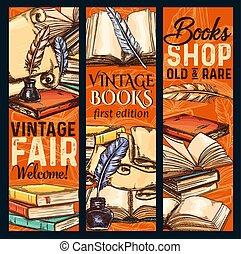 esboço, vetorial, antigas, vindima, livros, shoop, bandeiras
