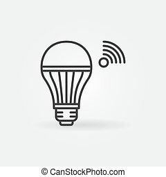 esboço, vetorial, bulbo, wifi, esperto, luz, ícone