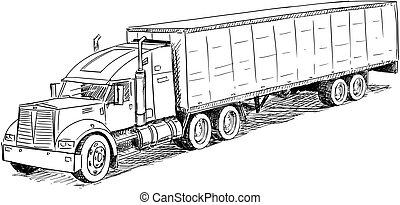 esboço, vetorial, caminhão, desenho, ilustração