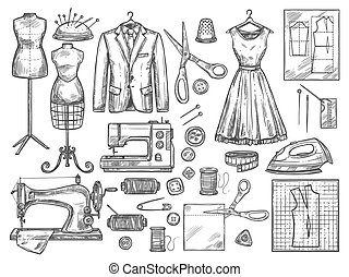 esboço, vetorial, dressmaking, costurando, ícones