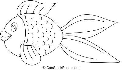 esboço, vetorial, illustration., goldfish
