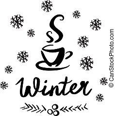 esboço, vetorial, inverno, ilustração