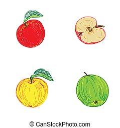 esboço, vetorial, maçãs, ilustração, estilo
