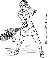 esboço, vetorial, mulher, tênis, ilustração, racket.