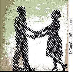 esboço, vetorial, par., ilustração, dançar