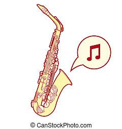 esboço, vetorial, saxofone