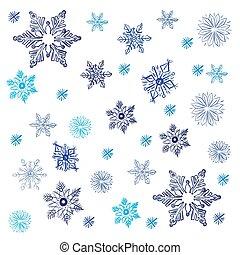 esboço, vetorial, snowflakes, ilustração, estilo