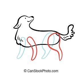 esboço, vetorial, style., cão