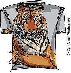 esboço, vetorial, tee, ilustração, tiger.