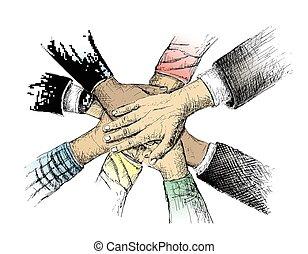 esboço, vetorial, unidade, ilustração, mãos