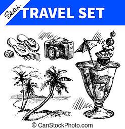 esboço, viagem, mão, ilustrações, desenhado, feriado, set.