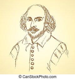 esboço, vindima, estilo, shakespeare william, retrato