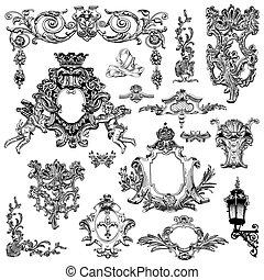 esboço, vindima, heraldic, elemento, desenho, calligraphic, desenho