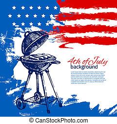 esboço, vindima, mão, americano, 4th, desenho, fundo, flag., desenhado, julho, dia, independência