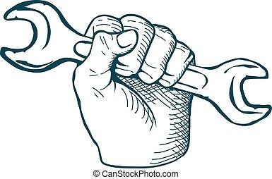 esboço, vindima, mão, vetorial, chave, desenhado