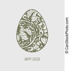 Esboço, vindima, mão, vetorial,  floral, desenhado, Páscoa, ovo