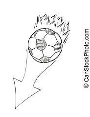 esboço, voando, chamas, esfera football, seta