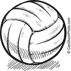 esboço, voleibol, esportes