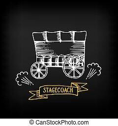 esboço, wagon., vetorial, stagecoach, coberto, design.