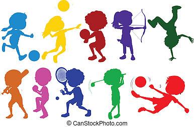 esboços, diferente, caçoa esportes, colorido, tocando