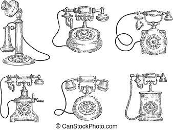 esboços, disco, vindima, isolado, telefones rotativos