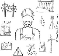 esboços, electricidade, indústria, poder, ícones