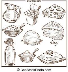 esboços, jogo, natural, produtos, monocromático, leite, leiteria