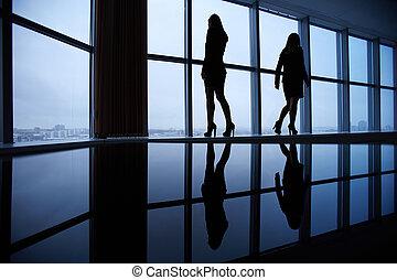 esboços, mulheres negócios