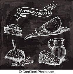 esboços, queijo, natural