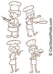 esboços, simples, cozinheiros, planície
