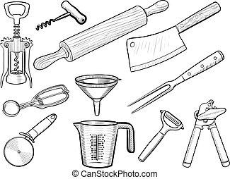 esboços, utensílio, cozinha