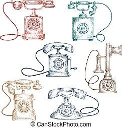 esboços, vindima, telefones, corded