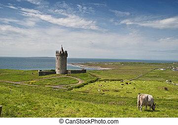 escénico, antiguo, clare, condado, irlandés, castillo, ...