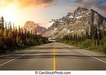 escénico, camino, rockies canadienses
