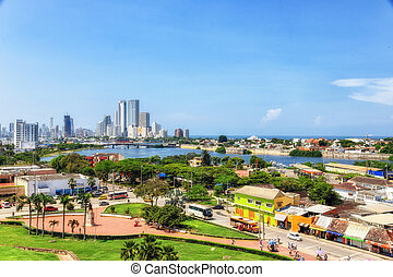 escénico, cityscape, contorno, bocagrande, puesto de vigilancia, santo, cartagena, moderno, philippe, bocachica, bahías, castillo, colombia, hoteles, vista, océano