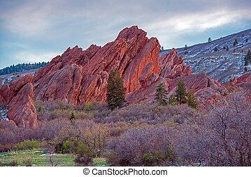 escénico, colorado, roca