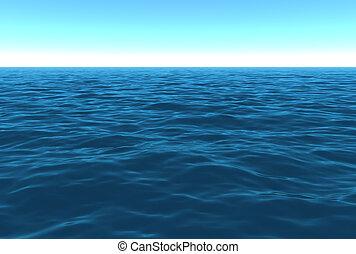 escénico, día, océano