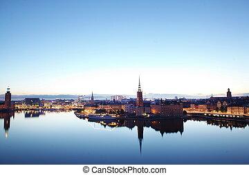 escénico, Estocolmo, tarde, Suecia,  panorama
