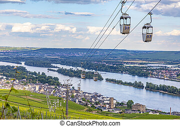 escénico, funicular, encima, viñas, ruedesheim
