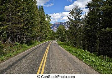 escénico, montana, camino