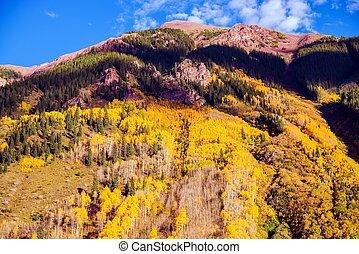 escénico, otoño, montaña