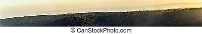 escénico, panorama, de, bosque, en, thuringia